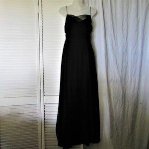 Laundry black silk evening dress beaded straps 8